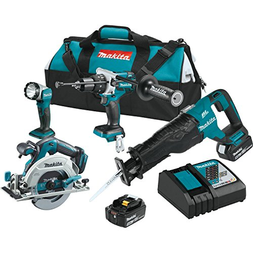 Makita XT448T 5.0 Ah 18V LXT Lithium-Ion Brushless Cordless Combo Kit (4 Piece)