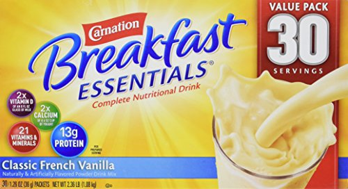 Instant Carnation Breakfast (Carnation Breakfast Essentials Complete Nutritional Drink Classic French Vanilla - 30 Servings 2.36 LB)