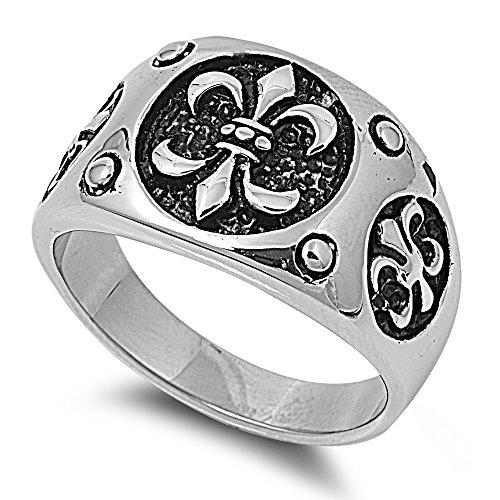 Stainless Steel Three Fleur De Lis Men's Ring Size 12