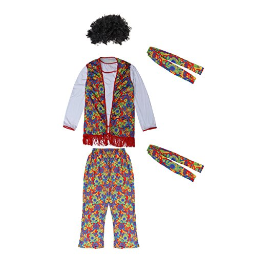 Disco Theme Party Costume Ideas (LUOEM Unisex Hippie Costume Retro Hippie Disco Costume Set With Wig For Carnival Costume Party - Size M)