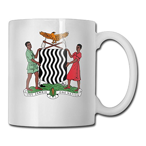 LoveoorheebGHu Funny Coat Of Arms Of Zambia Unique Coffee Cups 11 Oz White Ceramic Cup For Tea