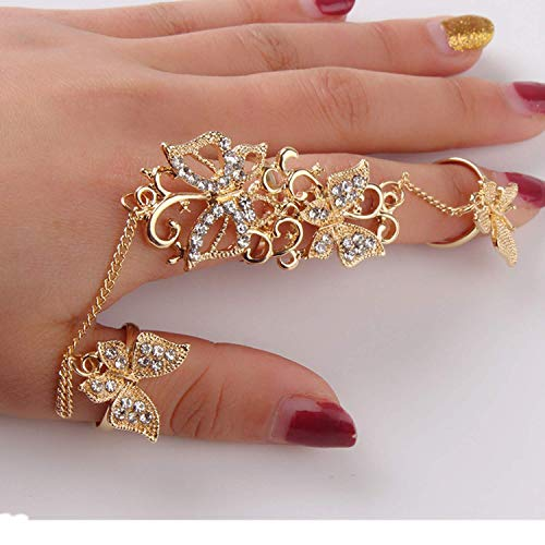 HUAMING Womens Butterfly Ring Openwork Flower Vine Rhinestone Adjustable Finger Ring ing Gold Chian Link Double Ring Perfect Clothing Match (Gold)
