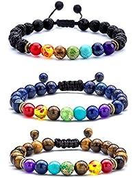 Men Women 8mm Lava Rock 7 Chakras Diffuser Bracelet...
