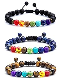 Hamoery Men Women 8mm Lava Rock Chakra Beads Bracelet Braided Rope Stone Agate Bracelet Bangle