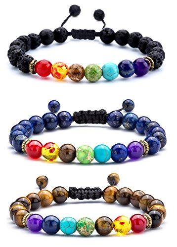 Rope Stone (Hamoery Men Women 8mm Lava Rock 7 Chakras Diffuser Bracelet Braided Rope Natural Stone Yoga Beads Bracelet Bangle (3 Pcs set))