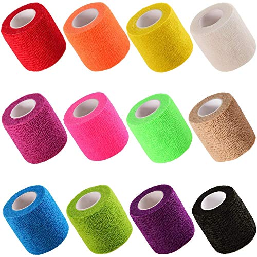 Cherish tea 12 Pieces Self Adhesive Elastic Bandage Wrap Stretch Self-Adherent Tape for First Aid,Sports, Wrist, Ankle (12 Colors,2 Inches x 5 Yards Each)