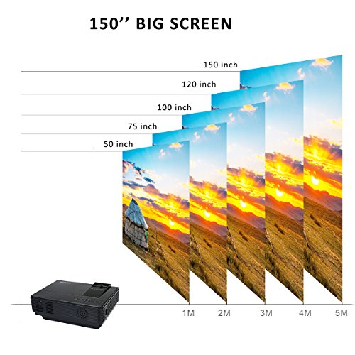 Projector by WiMiUS +20% Lumens Portable LCD Video Projector Support 1080P with Free HDMI Cable and Tripod Compatible with TV Stick Xbox Laptop iPhone Smartphones for Home Cinema-Black by WiMiUS (Image #2)