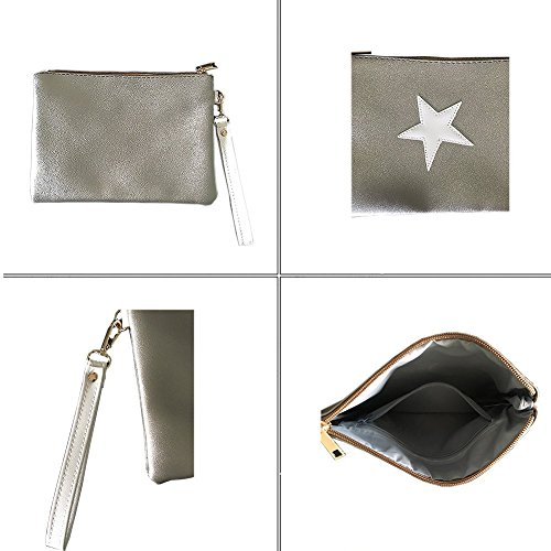 Large Arcly Daily Bag PU Leather Evening Handbags Silver and Womens Clutch Casual E0wr70qXx