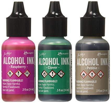 Tim Holtz Adirondack Brights Alcohol Ink 0.5 ounces | 3/pkg - Valley Trail - Raspberry / Pebble / Clover