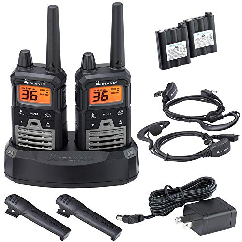 Midland – X-TALKER T290VP4, 36 Channel GMRS GMRS Two-Way Radio – Up to 40 Mile Range Walkie Talkie, 121 Privacy Codes, NOAA Weather Scan Alert Pair Pack Black Silver