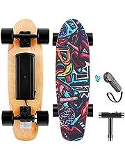 WOOKRAYS Elektrisch skateboard met draadloze afstandsbediening, 350 W, max. 20 KM/u, 7 lagen esdoorn e-skateboard, 3 snelheden voor volwassenen, tieners en kinderen