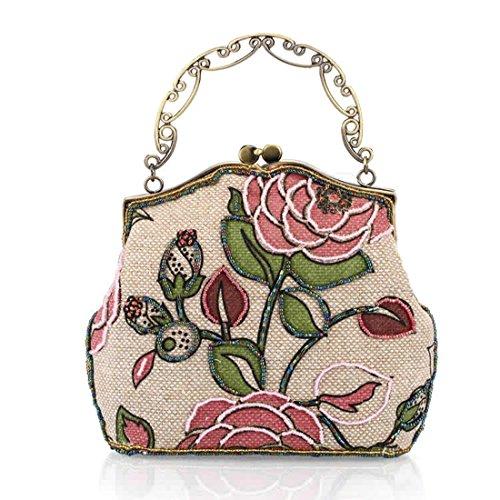 HT - Cartera de mano para mujer floral 10