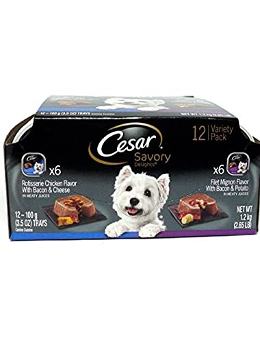 Cesar Wet Dog Food Variety Pack Savory Delights Rotisserie Chicken/Filet Mignon - 12 CT