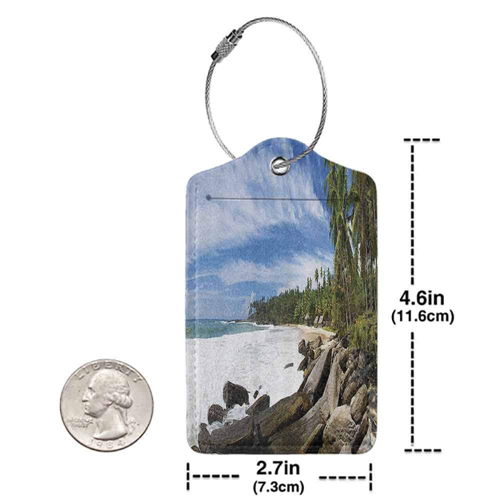 Printed luggage tag Seaside Decor Collection Tropical Seashore on Sri Lanka with Palms Hanging over the Mighty Stones Washed by Sea Picture Protect personal privacy Blue Ivory Green W2.7 x L4.6