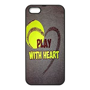 Softball Series, IPhone 5,5S Case, Softball Quotes,Play with Heart Case for IPhone 5,5S [Black] BY BYC DESIGNS