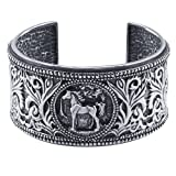 Sterling Silver Intricate Detailed Design Horse Cuff Bracelet Wide