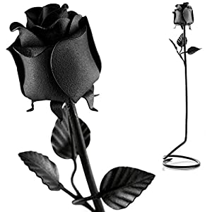 Hand Forged Iron Rose - 100% Wrought Iron Flower In Black - Unique Anniversary Gift 14