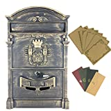 Yahead Mailbox Retro Vintage European Aluminum Outdoor Wall Mounted Mail Box Post Box Secure Letterbox Outside Mailboxes with 8pcs Retro Writing Stationery Paper and 4pcs Envelopes Brown