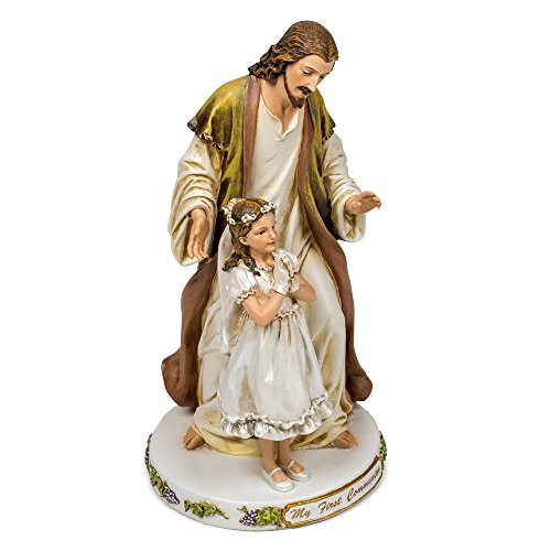 Jesus with Praying Girl My First Communion 9.5 Inch Resin Stone Tabletop Figurine]()
