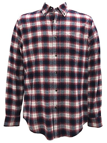 Mens Brushed Cotton Check - Seeksmile Men's Plaid Long Sleeve Flannel Shirt (Large, Red)