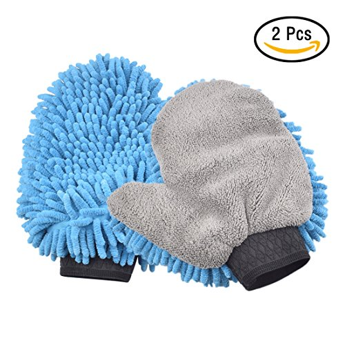 CarBoss Car Wash Mitts 2 Pack Cleaning Gloves Premium Chenille Microfiber Double Sided Extra Large Size Super Absorbent Wash Sponge for Car SUV Truck (Delicate Spun Glass)