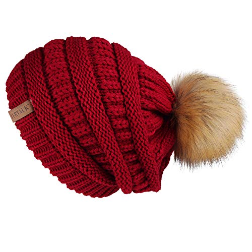 5ce42a50ce9a9 1 · Womens Winter Slouchy Knit Beanie Chunky Faux Fur Pom Poms Hat Bobble  Hat Ski Cap