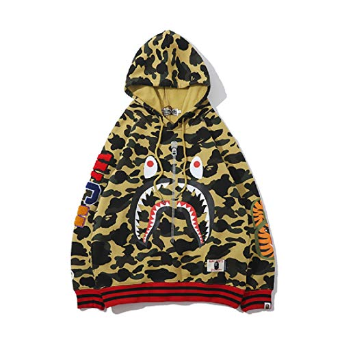 Bandana Cotton Track - Big Mouth Shark Ape Bape Camo Mens Women Hoodies Sweatershirt Casual Zip Up Hip-Hop Funny Tops H-1beigecamo S