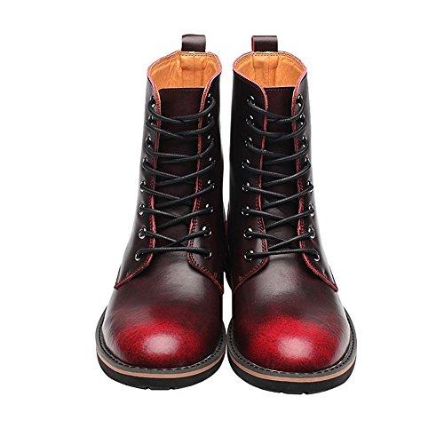 Rismart Mens Snygga Pekade Tå Låg Tjock Klack Snörning Chukka Boots Varmt Foder Vinter Boots Bourgogne Plysch Sn17800 Us8.5