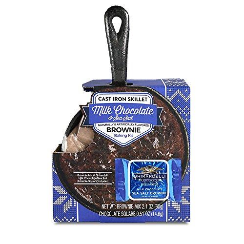 Chocolate Brownie Cast Iron Skillet Baking Kit: Ghirardelli Milk Chocolate & Sea Salt Edition | With Brownie Mix and Ghirardelli Milk Chocolate & Sea Salt Squares (Dessert Gift Ideas)