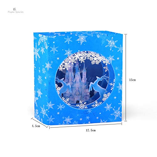(CHITOP Icy Castle Pop up Christmas Card Halloween Thanksgiving Greeting Card Merry Christmas Happy New Year Card with Delicate NoteCard)