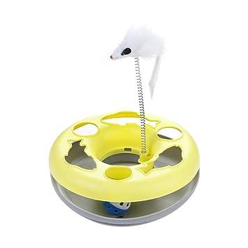 AOLVO - Rascador para Gatos, Juguetes giratorios para Gatos con muelles de ratón móviles,