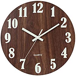JoFomp 12 Inch Wooden Wall Clock, Night Light Function Silent Non-Ticking Vintage Rustic Country Tuscan Style Battery Operated Decorative Wall Clock for Home Kitchen Office (Brown)