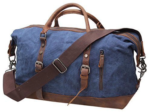 Iblue Small Canvas Duffle Bags Leather Travel Carry on Luggage Tote 17.7in #B006 (S, blue silver metal) (Leather Canvas Silver)
