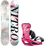 Nitro Arial Girl's 138cm Youth Snowboard + Salomon Rhythm Bindings - Fits US Boots Sized: 4,5,6,7
