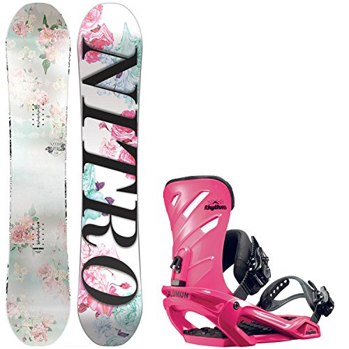 Nitro Arial Girl's 138cm Youth Snowboard + Salomon Rhythm Bindings - Fits US Boots Sized: 4,5,6,7 by Nitro