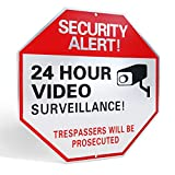 "L&C Source Video Surveillance Sign- Reflective Business/Home Security Signs with UV/Waterproof layers and 40mil Thick Rust-free Aluminum Metal 12"" X 12"" Comes with SCREWS"