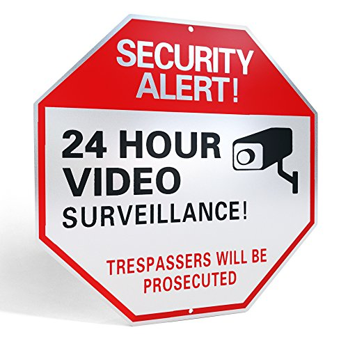 L&C Source Video Surveillance Sign- Reflective Business/Home Security Signs with UV/Waterproof layers and 40mil Thick Rust-free Aluminum Metal 12 X 12 Comes with SCREWS