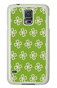 Samsung Galaxy S5 Floral Pattern And Green Background PC Custom Samsung Galaxy S5 Case Cover White