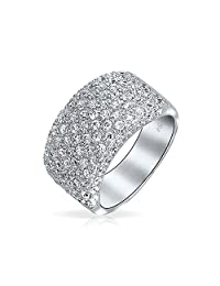 Bling Jewelry Wide Cubic Zirconia Half Eternity Cocktail Ring Sterling Silver