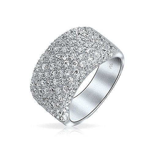 Wide Cocktail Band Ring Pave CZ 925 Sterling Silver 925 Sterling Silver