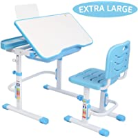 JOYMOR Kids Desk and Chair Set Height Adjustable with Extra Large Tilting Desktop, Durable Double-Side Seat Back, Stand Multifunctional Study Table Workstation for School Students (Blue)