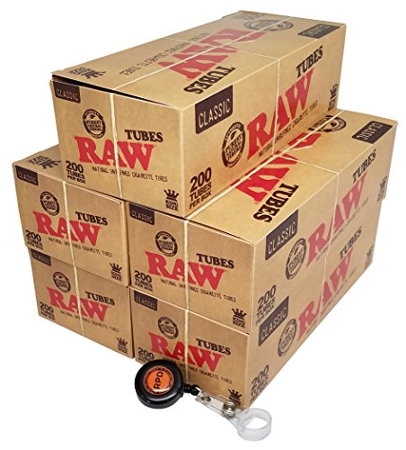 RAW Natural Unrefined King Size Cigarette Tubes (200 Tubes per Box) 5 Boxes with Rolling Paper Depot Lighter Lasso