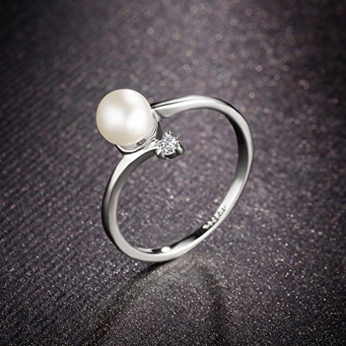 Bella Lotus 18k White Gold Plated Simulated Pearl Rings Wedding Bands, Size 10