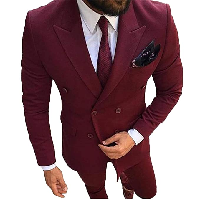 Men Suits Slim Fit Burgundy Double Breasted Blazer Groom Tuxedo