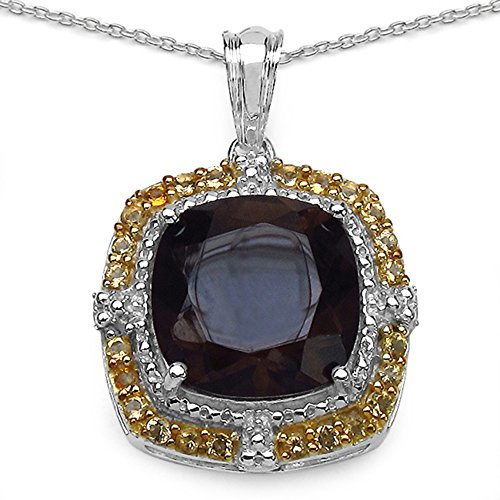 Genuine Round Citrine and Smoky Topaz Pendant in Sterling Silver