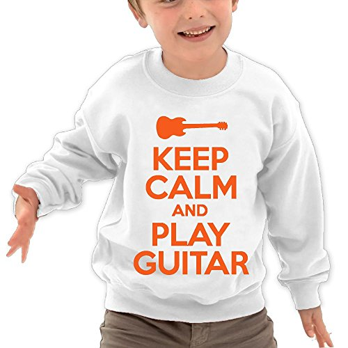 Puppylol Keep Calm and Play Guitar Kids Classic Crew-Neck Pullover Sweatshirt White 4 Toddler