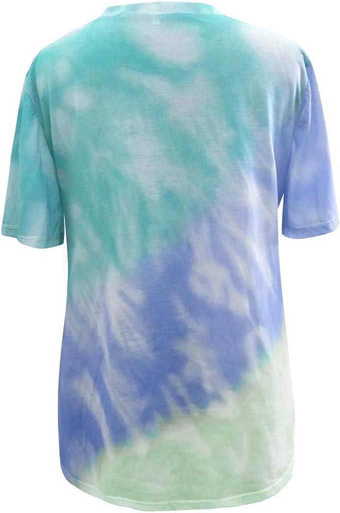 Eduavar T-Shirt for Women Girls Fashion Tee Shirts Gradient Color Short Sleeve T-Shirts Summer Loose Blouse Tunic Tops