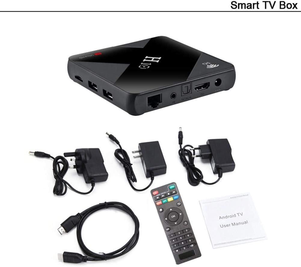 Smart TV Box H10 - Reproductor de audio doméstico (Bluetooth, Quad Core Box de 6 quilates, Android 9,0, Wi-Fi, H10) 4g + 64g EU Adapter Negro: Amazon.es: Hogar