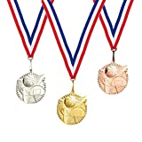 3-Piece Award Medals Set - Metal Olympic Style Basketball Gold, Silver, Bronze Medals for Sports, Games, Competitions, Party Favors, 2.3 Inches in Diameter with 32-Inch Ribbon