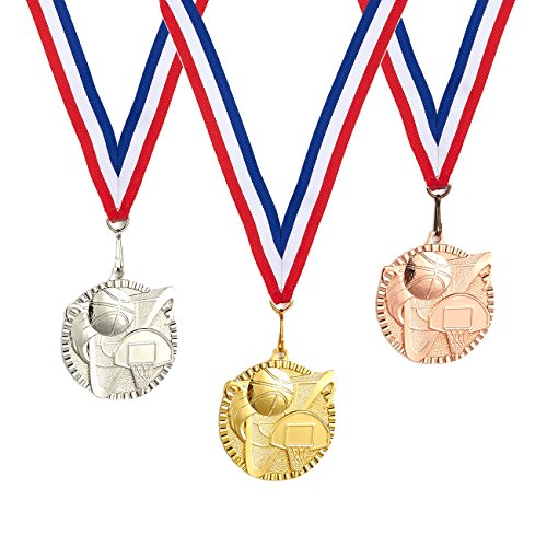 Juvale 3-Piece Award Medals Set - Metal Olympic Style Basketball Gold, Silver, Bronze Medals for Sports, Games, Competitions, Party Favors, 2.3 Inches in Diameter with 32-Inch ()